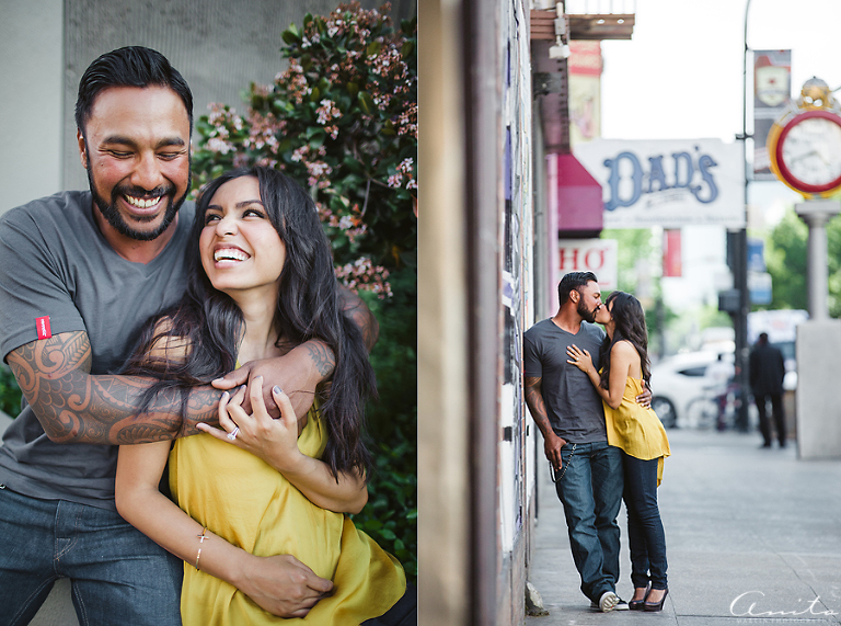 Engagement photos in front of Dad's Downtown Sacramento