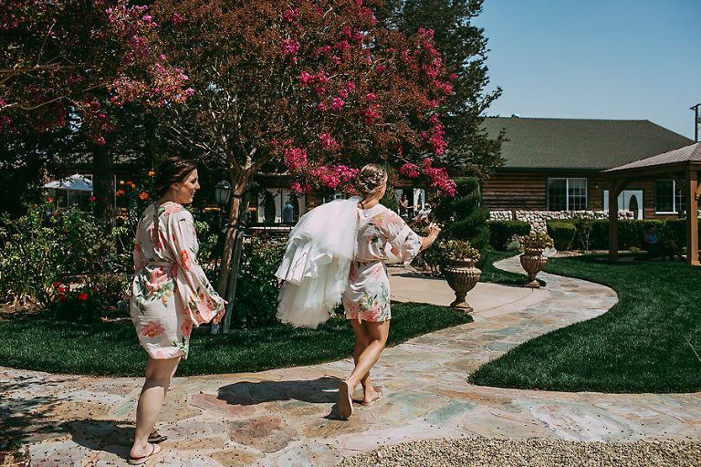 Purple Orchid Inn Livermore Wedding Bridesmaids Carrying Gown